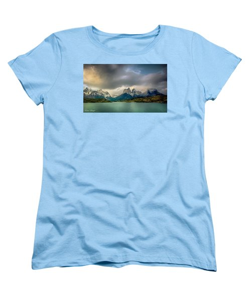 Women's T-Shirt (Standard Cut) featuring the photograph The Mountains On The Lake by Andrew Matwijec