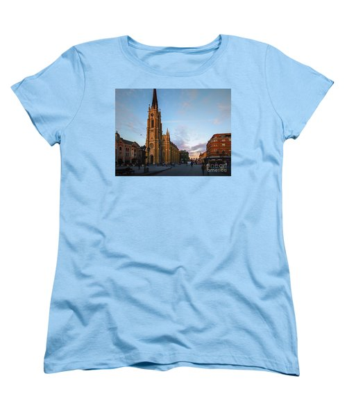 Women's T-Shirt (Standard Cut) featuring the photograph The Name Of Mary Church At Dusk Novi Sad by Jivko Nakev