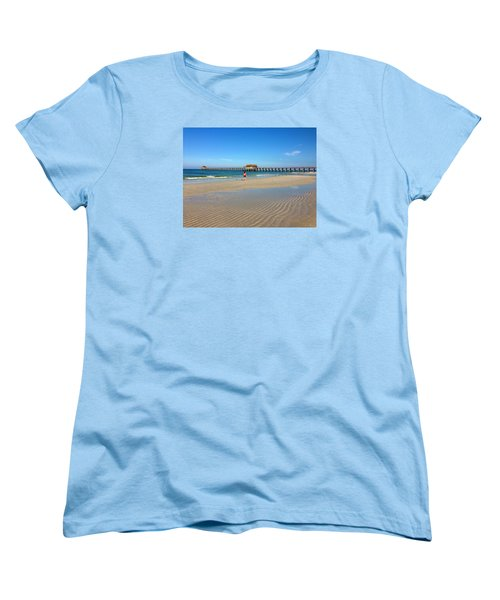 The Naples Pier At Low Tide Women's T-Shirt (Standard Cut) by Robb Stan