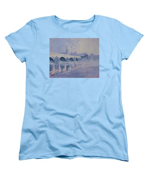 The Old Bridge Of Maastricht In Morning Fog Women's T-Shirt (Standard Cut) by Nop Briex