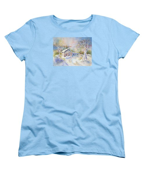 Women's T-Shirt (Standard Cut) featuring the painting The Old Shed by Mary Haley-Rocks