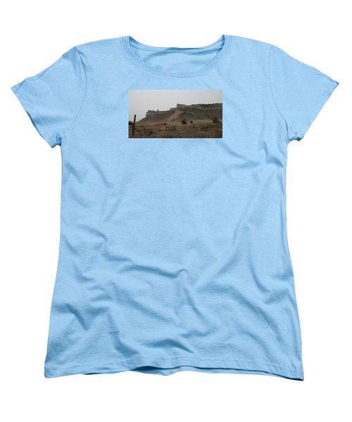 The Oregon Trail Scotts Bluff Nebraska Women's T-Shirt (Standard Cut) by Christopher Kirby
