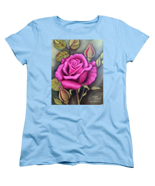 Women's T-Shirt (Standard Cut) featuring the painting The Pink Rose by Inese Poga