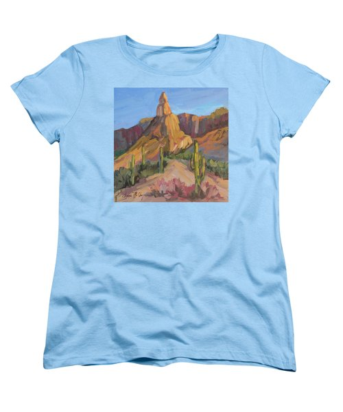 Women's T-Shirt (Standard Cut) featuring the painting The Pinnacle At Goldfield Mountains by Diane McClary