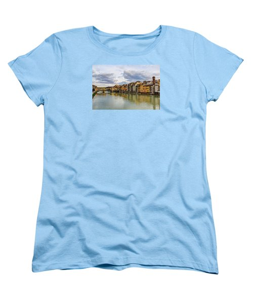Women's T-Shirt (Standard Cut) featuring the photograph The Ponte Vecchio And Florence by Wade Brooks