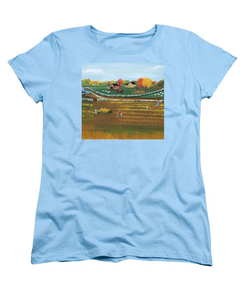 Women's T-Shirt (Standard Cut) featuring the painting The Pumpkin Patch by Virginia Coyle