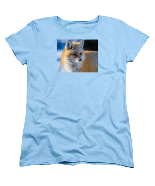 Women's T-Shirt (Standard Cut) featuring the photograph The Red Fox Portrait In Snow by Yeates Photography