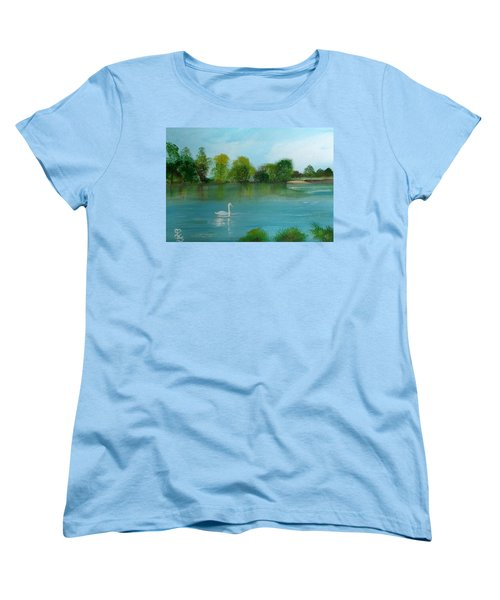 The River Thames At Shepperton Women's T-Shirt (Standard Cut) by Carole Robins