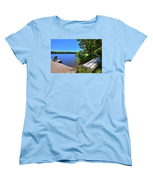Women's T-Shirt (Standard Cut) featuring the photograph The Rowboat On West Lake by David Patterson