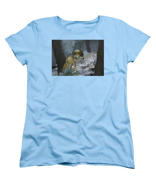 The Searching Wolf Women's T-Shirt (Standard Cut) by Ernie Echols