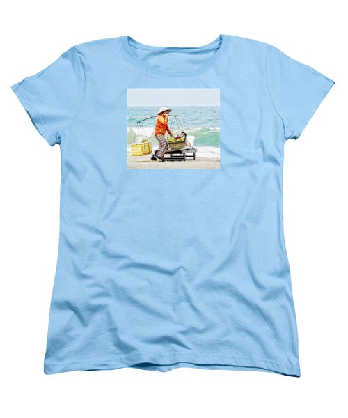 The Smiling Vendor Women's T-Shirt (Standard Cut) by Cameron Wood