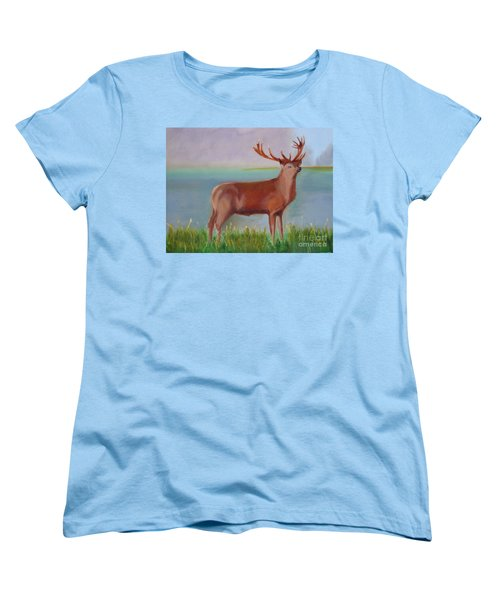 Women's T-Shirt (Standard Cut) featuring the painting The Stag by Rod Jellison