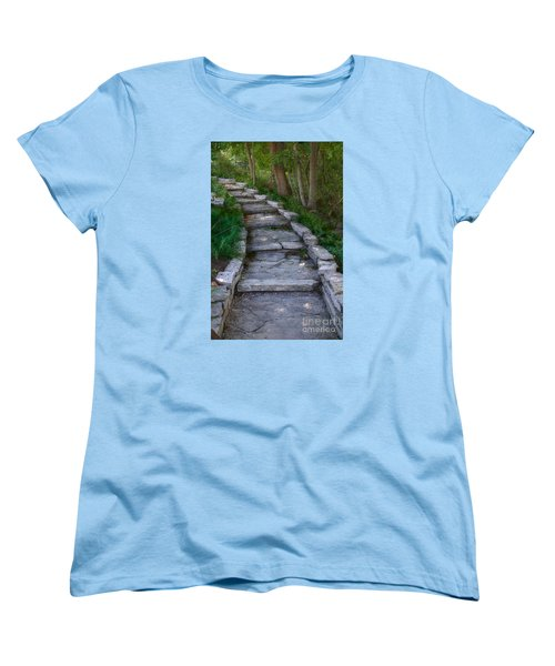 Women's T-Shirt (Standard Cut) featuring the digital art The Steps by David Blank