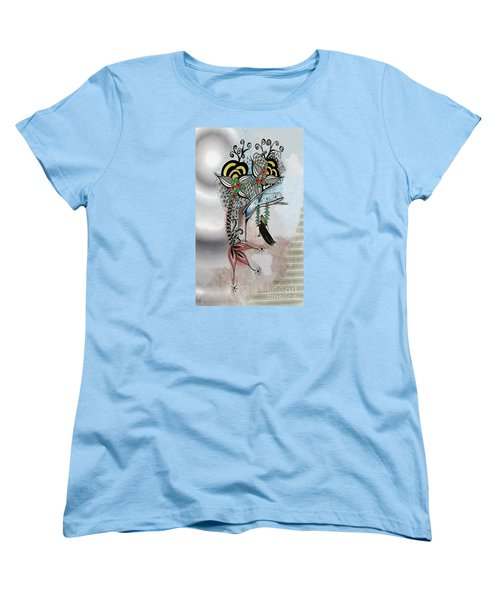 Women's T-Shirt (Standard Cut) featuring the drawing The Swing Colorful Ink Drawing Art By Saribelle by Saribelle Rodriguez