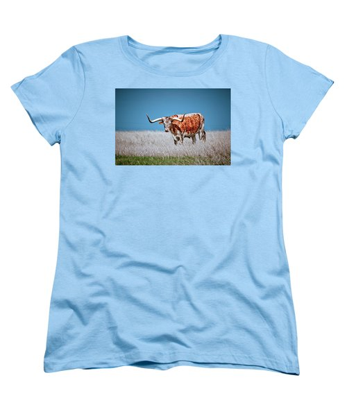 Women's T-Shirt (Standard Cut) featuring the photograph The Texas Longhorn by Linda Unger