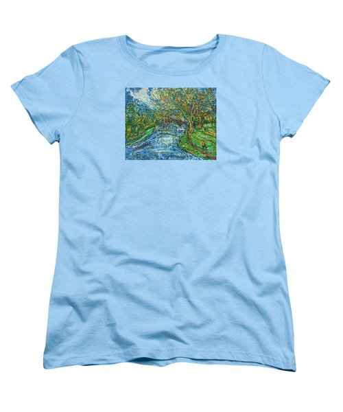 The Thames At Oxford Women's T-Shirt (Standard Cut) by Anna Yurasovsky