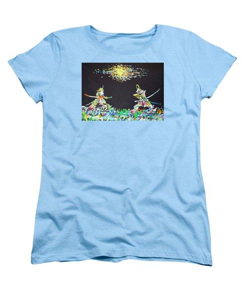 Women's T-Shirt (Standard Cut) featuring the painting The Two Samurais by Fabrizio Cassetta