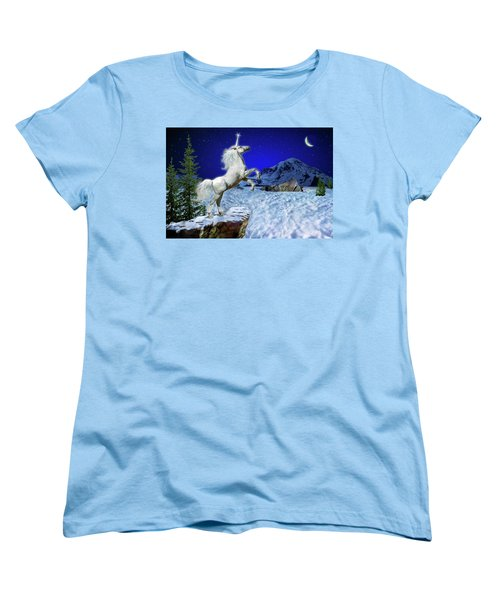 Women's T-Shirt (Standard Cut) featuring the digital art The Ultimate Return Of Unicorn  by William Lee
