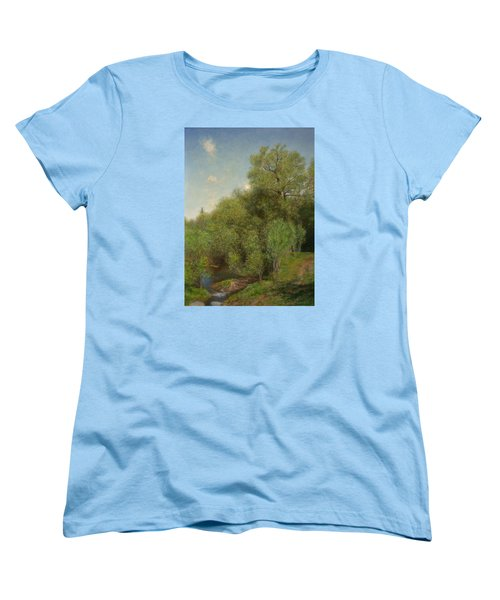 Women's T-Shirt (Standard Cut) featuring the painting The Willow Patch by Wayne Daniels