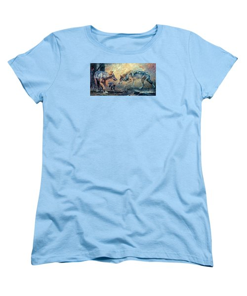 Women's T-Shirt (Standard Cut) featuring the photograph The Wolf Family by Brian Tarr