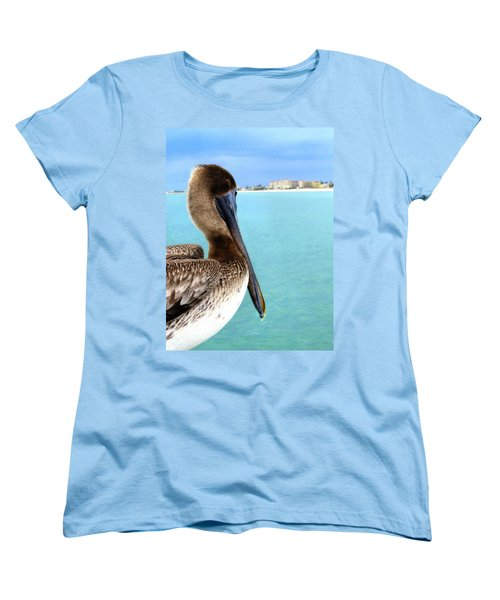 This Is My Town - Pelican At Clearwater Beach Florida  Women's T-Shirt (Standard Cut) by Angela Rath