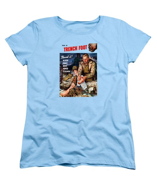 Women's T-Shirt (Standard Cut) featuring the painting This Is Trench Foot - Prevent It by War Is Hell Store
