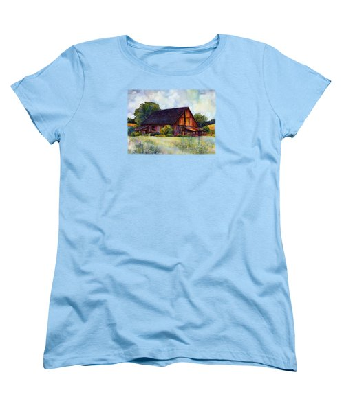 Women's T-Shirt (Standard Cut) featuring the painting This Old Barn by Hailey E Herrera