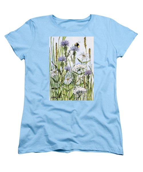 Women's T-Shirt (Standard Cut) featuring the painting  Thistles Daisies And Wildflowers by Laurie Rohner