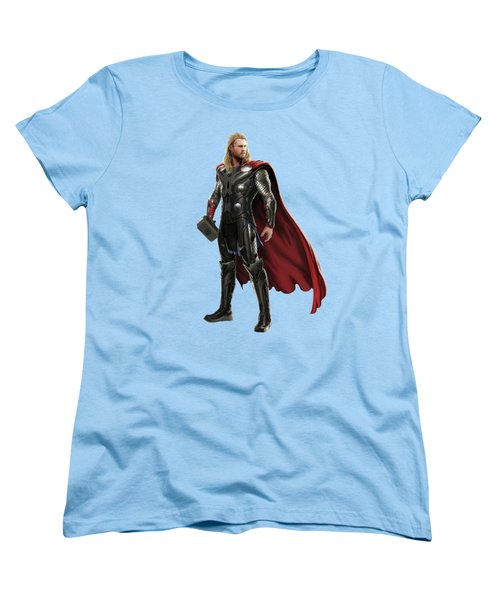 Women's T-Shirt (Standard Cut) featuring the mixed media Thor Splash Super Hero Series by Movie Poster Prints