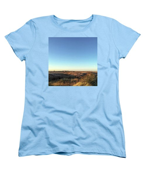 Thornham Marsh Lit By The Setting Sun Women's T-Shirt (Standard Cut) by John Edwards