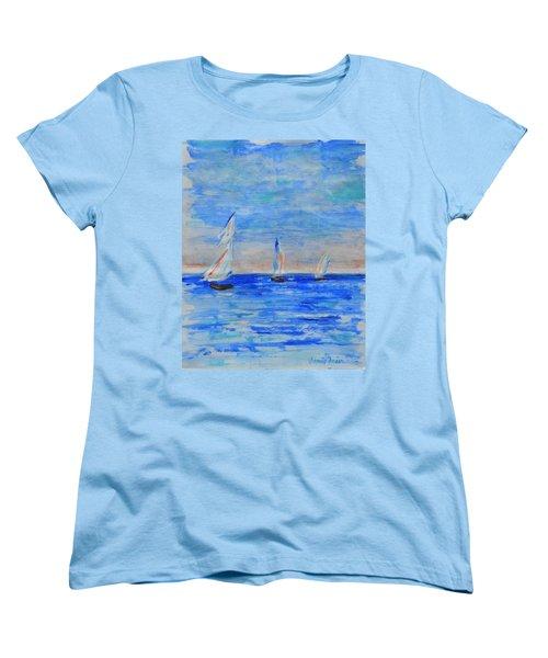 Three Boats Women's T-Shirt (Standard Cut) by Jamie Frier