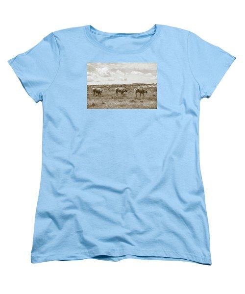 Women's T-Shirt (Standard Cut) featuring the photograph Three Buffalo Calves by Rebecca Margraf