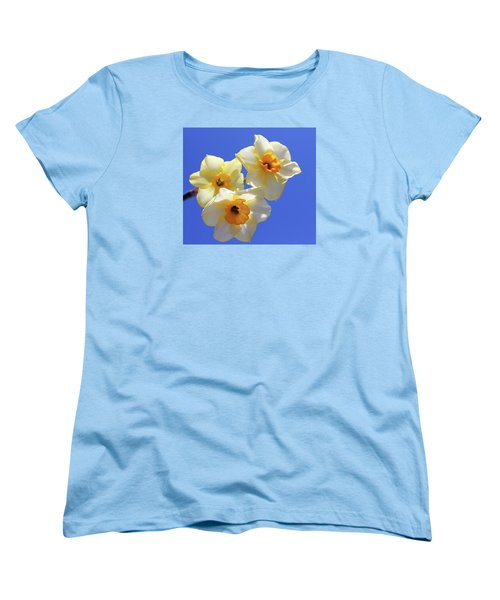 Women's T-Shirt (Standard Cut) featuring the photograph Three Daffodils by Judy Vincent