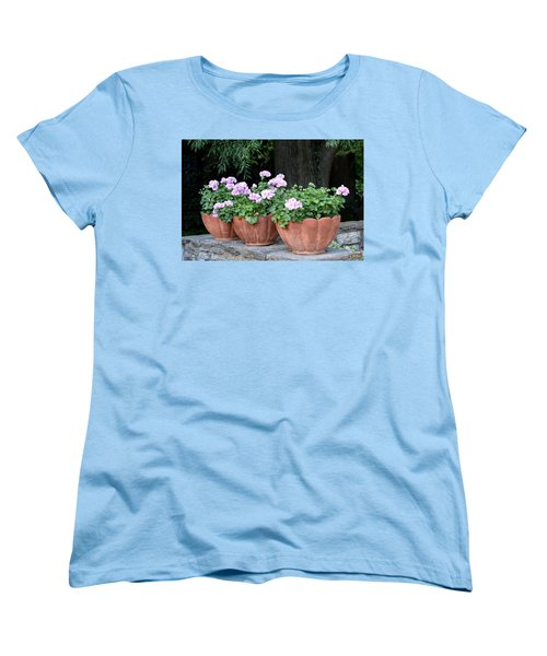 Women's T-Shirt (Standard Cut) featuring the photograph Three Flower Pots by Deborah  Crew-Johnson