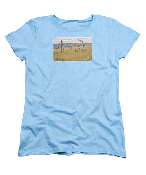 Women's T-Shirt (Standard Cut) featuring the photograph Three Gulls And A Swing Set by Melissa Messick