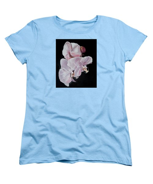 Women's T-Shirt (Standard Cut) featuring the painting Three Orchids by Sandra Nardone