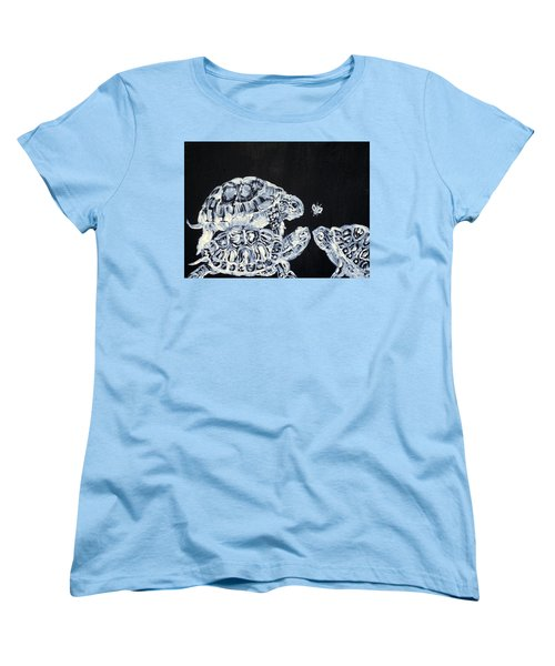 Women's T-Shirt (Standard Cut) featuring the painting Three  Terrapins And One Fly by Fabrizio Cassetta