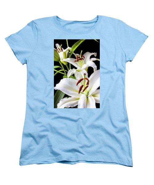 Three White Lilies Women's T-Shirt (Standard Cut) by Garry Gay