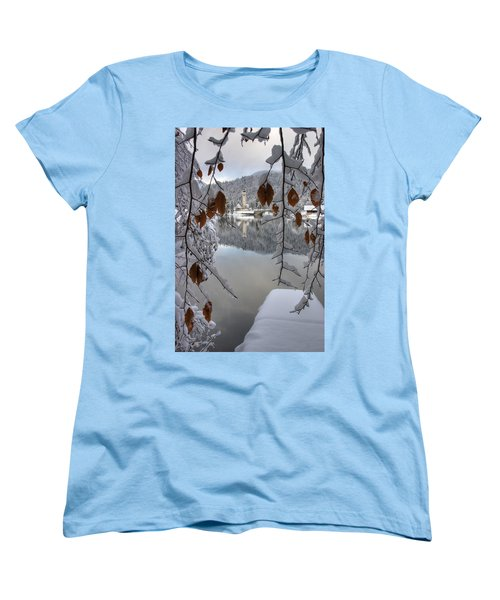 Women's T-Shirt (Standard Cut) featuring the photograph Through The Snow Trees by Ian Middleton