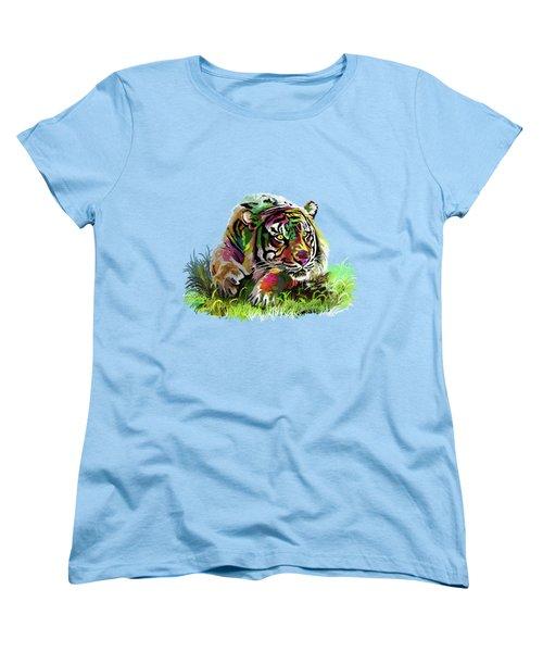 Colorful Tiger Women's T-Shirt (Standard Cut) by Anthony Mwangi