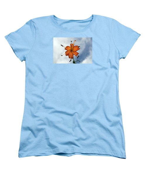 Tiger Lily In A Shower Women's T-Shirt (Standard Cut) by Kevin Fortier