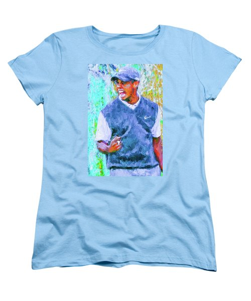 Tiger One Two Three Painting Digital Golfer Women's T-Shirt (Standard Cut) by David Haskett