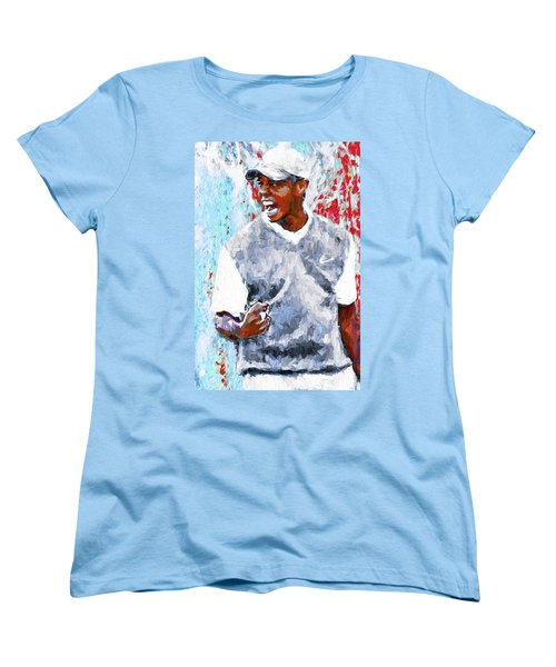 Tiger Woods One Two Red Painting Digital Women's T-Shirt (Standard Cut) by David Haskett