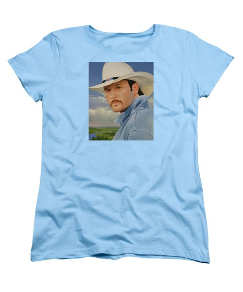 Women's T-Shirt (Standard Cut) featuring the painting Tim Mcgraw by Cliff Spohn
