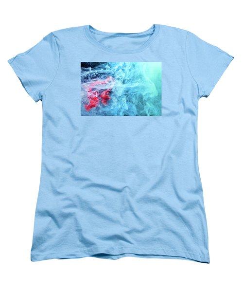 Time Travel - Blue Abstract Photography Women's T-Shirt (Standard Cut) by Modern Art Prints