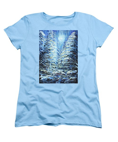 Women's T-Shirt (Standard Cut) featuring the painting Tim's Winter Forest by Holly Carmichael