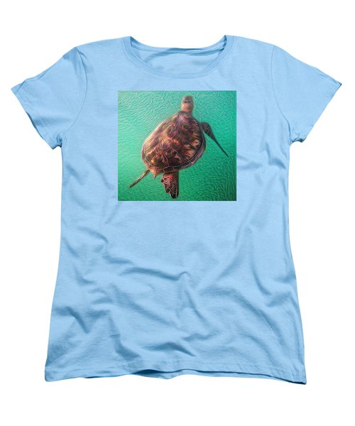 Women's T-Shirt (Standard Cut) featuring the digital art Tito The Turtle by Erika Swartzkopf