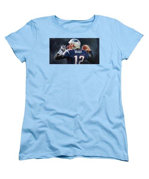 Women's T-Shirt (Standard Cut) featuring the painting Tom Brady Artwork by Sheraz A