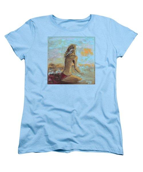 Topless Beach Women's T-Shirt (Standard Cut) by Donna Blackhall