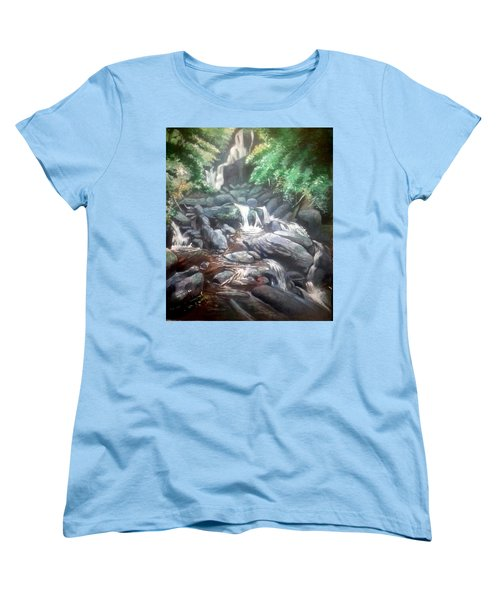 Women's T-Shirt (Standard Cut) featuring the painting Torc Waterfall County Kerry Ireland by Paul Weerasekera